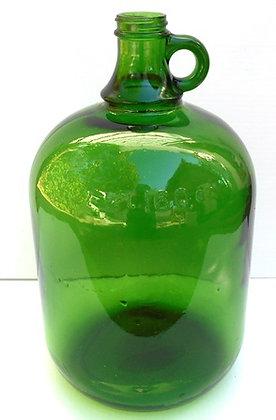 VINTAGE GREEN GLASS GALLON  JUG WITH HANDL