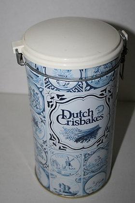 Vintage Delft Dutch Seasons Round Crisbakes Tin
