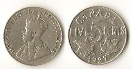 Canada 5 cents 1927 Nickels