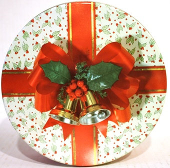 Old Christmas Holly Cookie Tin