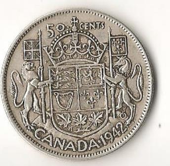 Canada 1942  Silver Half Dollar