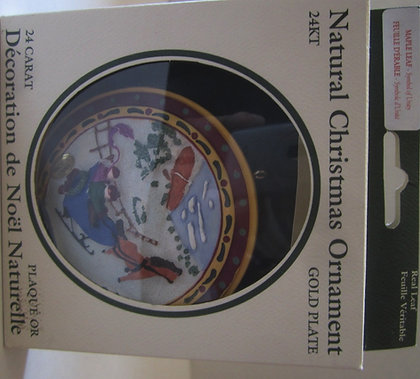 Natural Christmas Ornament Gold Plated