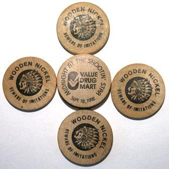 Souvenir Indian Head Wooden Nickels VDM