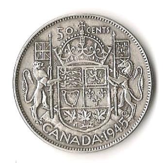 1945 Canada Silver Half-Dollar
