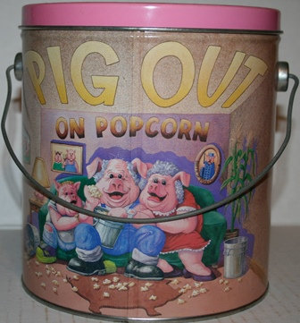 """Popcorn Tin """"Pig Out"""" by Nu Pharm"""