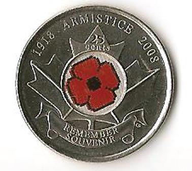 2008-M Canada 25 Cents with Poppy