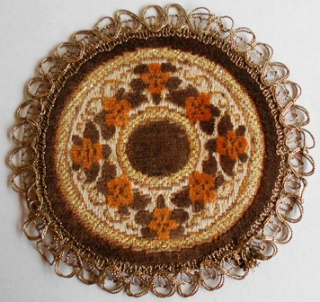 Two Vintage Belgium Tapestry Doilies
