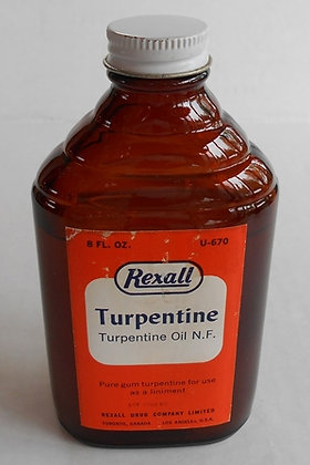 Vintage Rexall Turpentine Oil N.F.