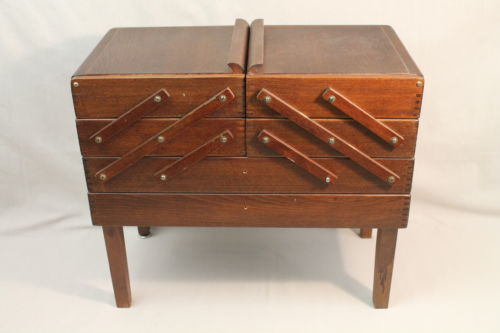 Vintage Sewing Box Basket Wooden