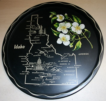 Vintage Idaho Black Metal Serving Tray