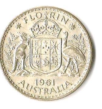 1961 Australia Silver Florin Coin