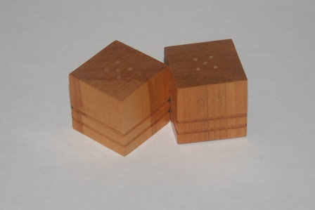 Wooden Cubes Salt and Pepper Shakers