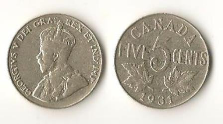 1931 Canada Nickel 25 Cent Coins (2)
