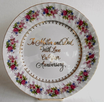 "Anniversary Plate ""To Mother and Dad"""