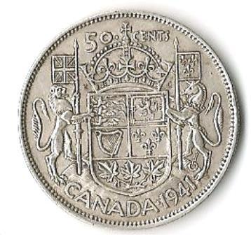 1941 Canadian silver Half dollar