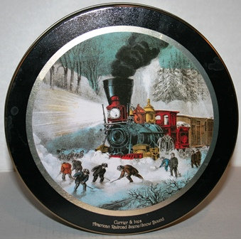 1996 Currier and Ives Cookie Tin Railroad