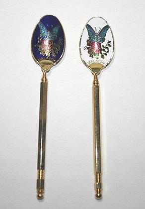 2 Malaysia Gold Toned Souvenir Spoons
