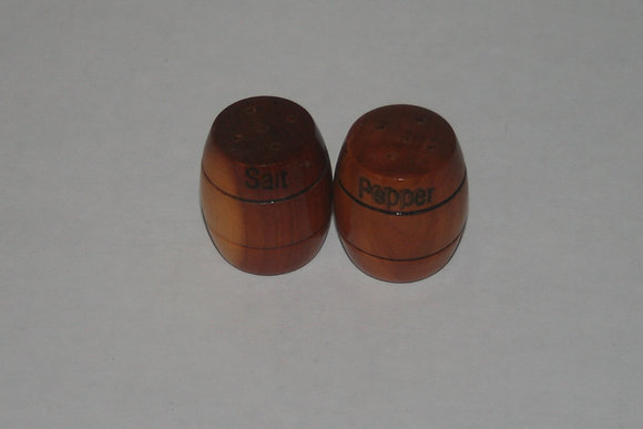 Vintage Salt and Pepper Shakers Wood Barrels
