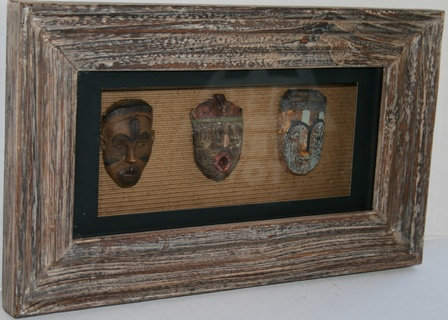 Miniature African Masks in a Shadow Box