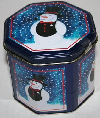 Vintage Snowman Canister Tin