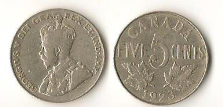 Canada 1923 Nickel 25 Cents