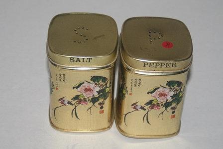 Vintage Tea Tin Salt & Pepper Shakers