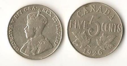 1926 Near 6 Canadian Nickel