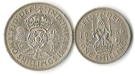 Great Britain 1 & 2 Shillings 1948 1950 Coins
