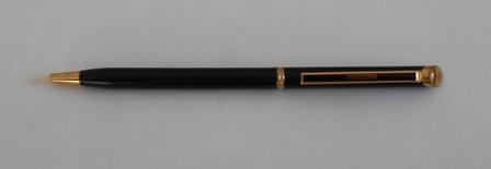 Vintage Ball Point Pen Black Slim Gold Trim