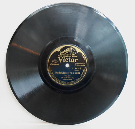 """Vintage 78rpm  Victor Record """"The Bum Song"""""""