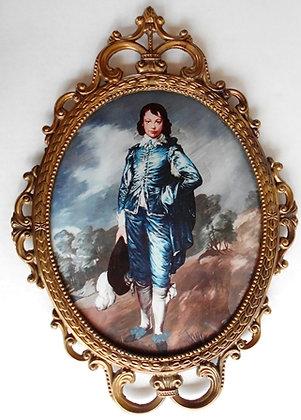 Vintage Blue Boy Oval Framed Picture