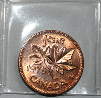 Canadian One Cent Penny 1976