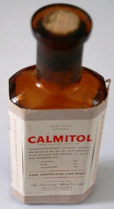 Vintage Calmitol  Brown Glass Bottle Paper Label