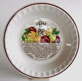 Vintage Apple Pie Plate Recipe Dish