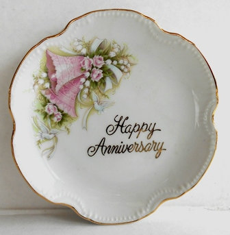 Happy Anniversary Porcelain Plate