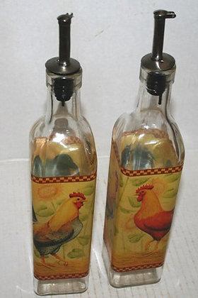 Vintage Vinegar & Oil Cruet Rooster Bottles