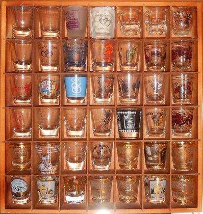 42 SHOT GLASS WOODEN DISPLAY CASE