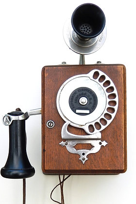 1900s Rotary Strowger Wood Telephone