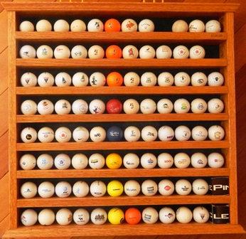 Solid Oak Golf Ball Display