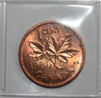 Canada 1980 1 Cent Copper Penny Coin