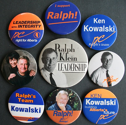 Ralph Klein Alberta Elections Button Pin Collection