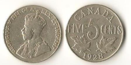 Canada 1928 5 Cents George V