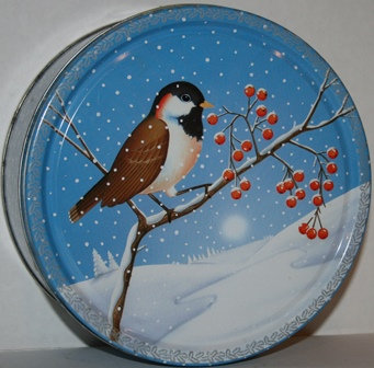 Vintage Cookie Metal Tin Can Snow Birds