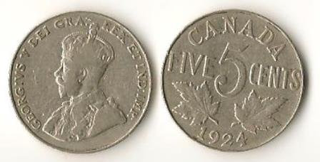 Canada 1924 Nickels 5 Cents