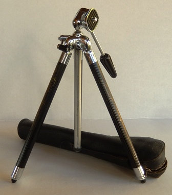 Camera Tripod in Leather Case