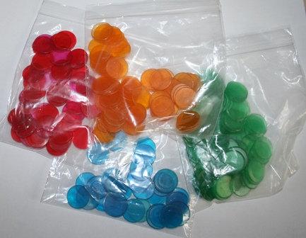 Vintage Colored Plastic Bingo Chips