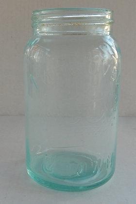 """Vintage """"Improved Gem"""" Light Green Glass Jar Seale"""