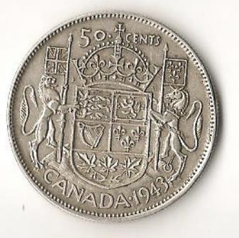 1943 Canada Half Dollar