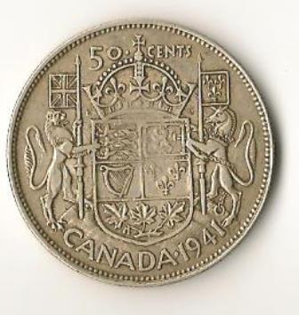 1941 Canada Silver Half Dollar
