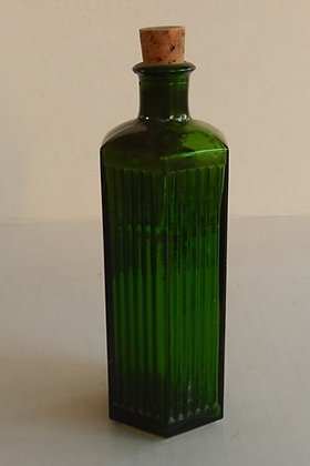 Green Ribbed Bottle with Cork Stopper